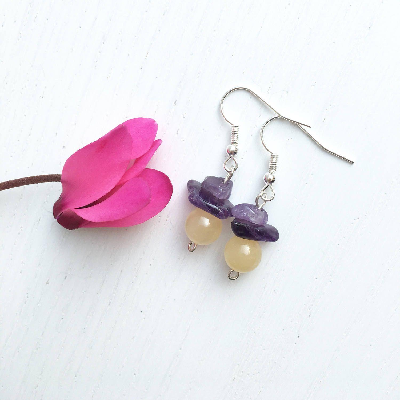 LEMONY pale yellow Wire wrap gemstone earrings by ... |Light Yellow Gemstone Earrings