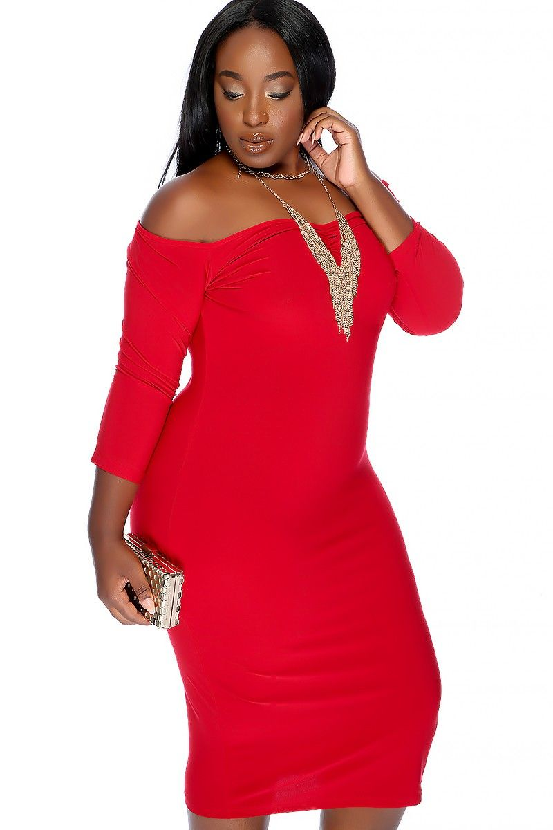 Sexy red off the shoulder knee length plus size party dress things