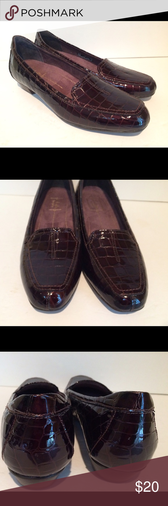 Clarks Everyday Faux Croc Slip On Loafers Clarks Everyday faux croc brown  slip on loafers size 7 narrow. Great condition maybe worn once or twice.