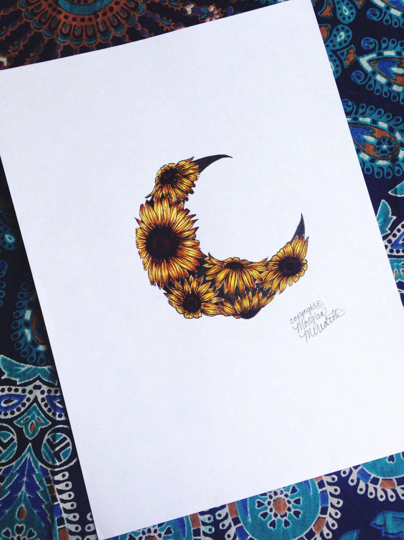 Sunflower Moon Print by MorgansCanvas on Etsy   Sunflower ...