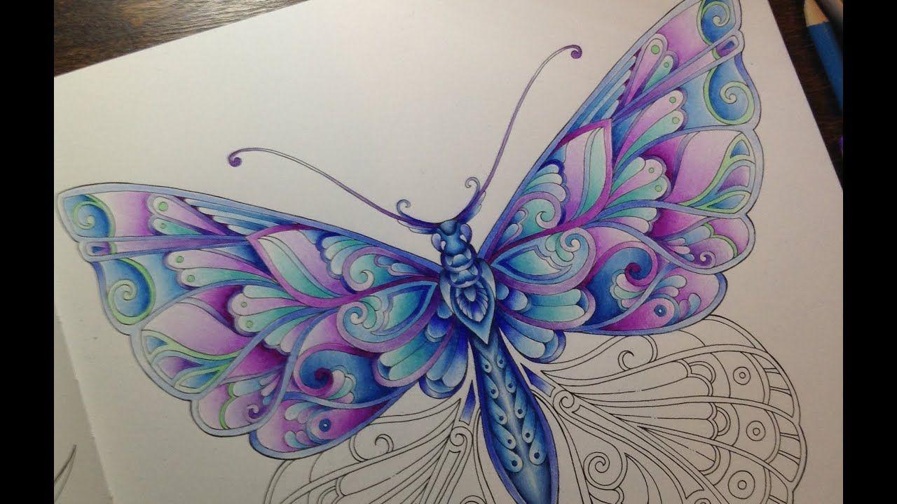 Magical Jungle Butterfly Part 2 Youtube Livro De Colorir Etiquetas Em Tecido Arte Com Lapis [ 720 x 1280 Pixel ]