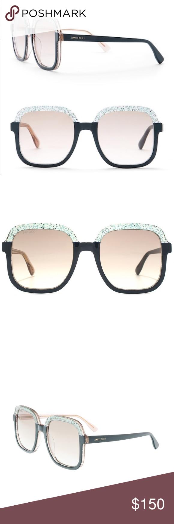 af14c8cb0d4 Jimmy Choo Sunglasses Glint 55mm Square Black Jimmy Choo Womens Sunglasses  Glint 55mm Square Black Glitter Jimmy Choo Accessories Sunglasses