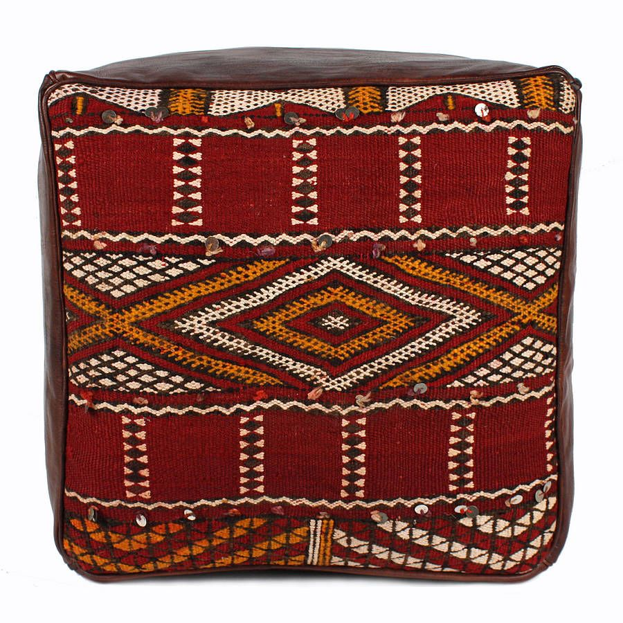 Moroccan Leather And Kilim Fabric Pouffe
