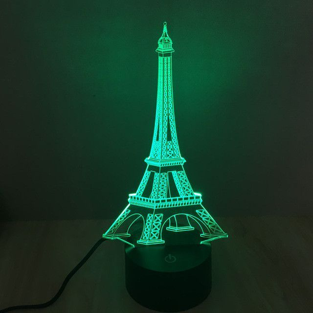 Realistic Eiffel Tower Sculpture 3d Optical Illusion Lamp 3d Led Lamp Led Night Lamp Night Light Lamp