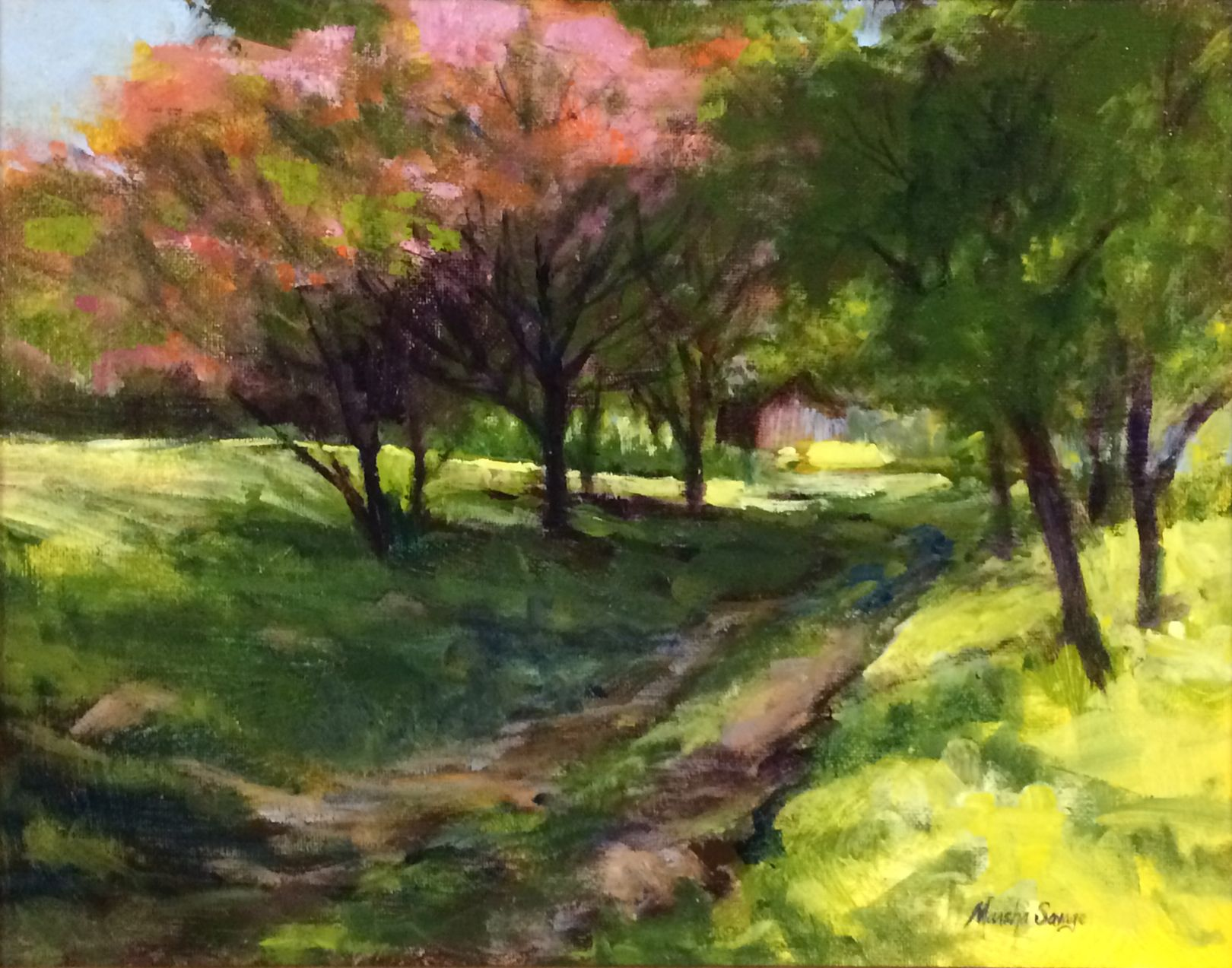 """Dogwood Path"" is an 11""x14"" acrylic painting done from a"