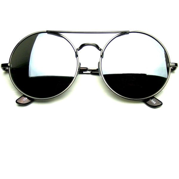 Steampunk Cross Bar Round Circle Flash Mirror Sunglasses (£6.14) ❤ liked on Polyvore featuring accessories, eyewear, sunglasses, round mirrored sunglasses, vintage circle sunglasses, vintage round sunglasses, steampunk sunglasses and circle lens sunglasses