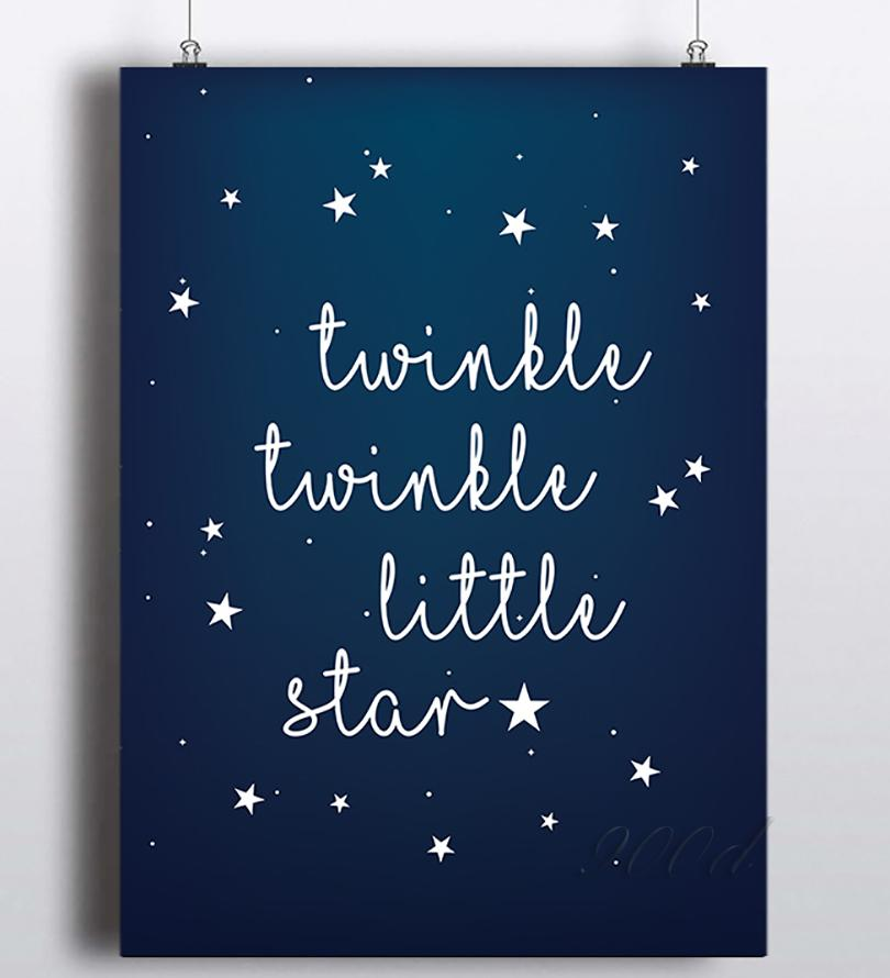 Twinkle Little Star Quote Canvas Art Print Painting Poster Wall P Canvas Art Quotes Canvas Painting Diy Canvas Art Prints
