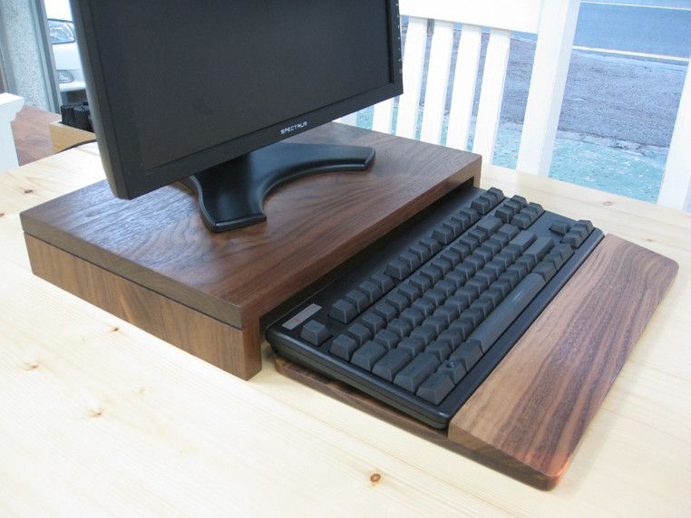 diy wooden monitor stand and keyboard tray woodworking in 2019 monitor stand wooden diy. Black Bedroom Furniture Sets. Home Design Ideas