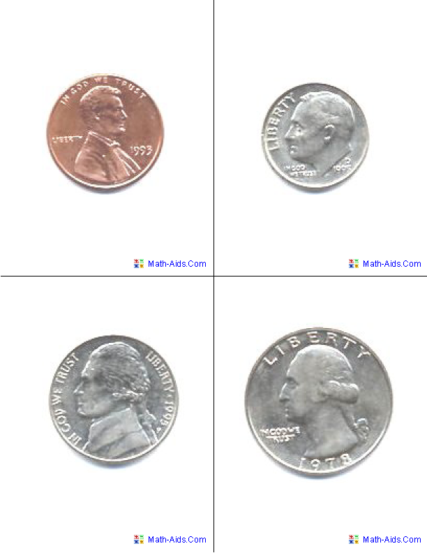 U. S. Coins Flash Cards | Math-Aids.Com