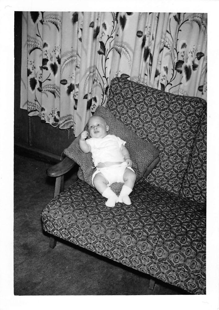 Newborn And Toddler Stroller Photograph Snapshot Vintage Black White Baby Boy Diaper