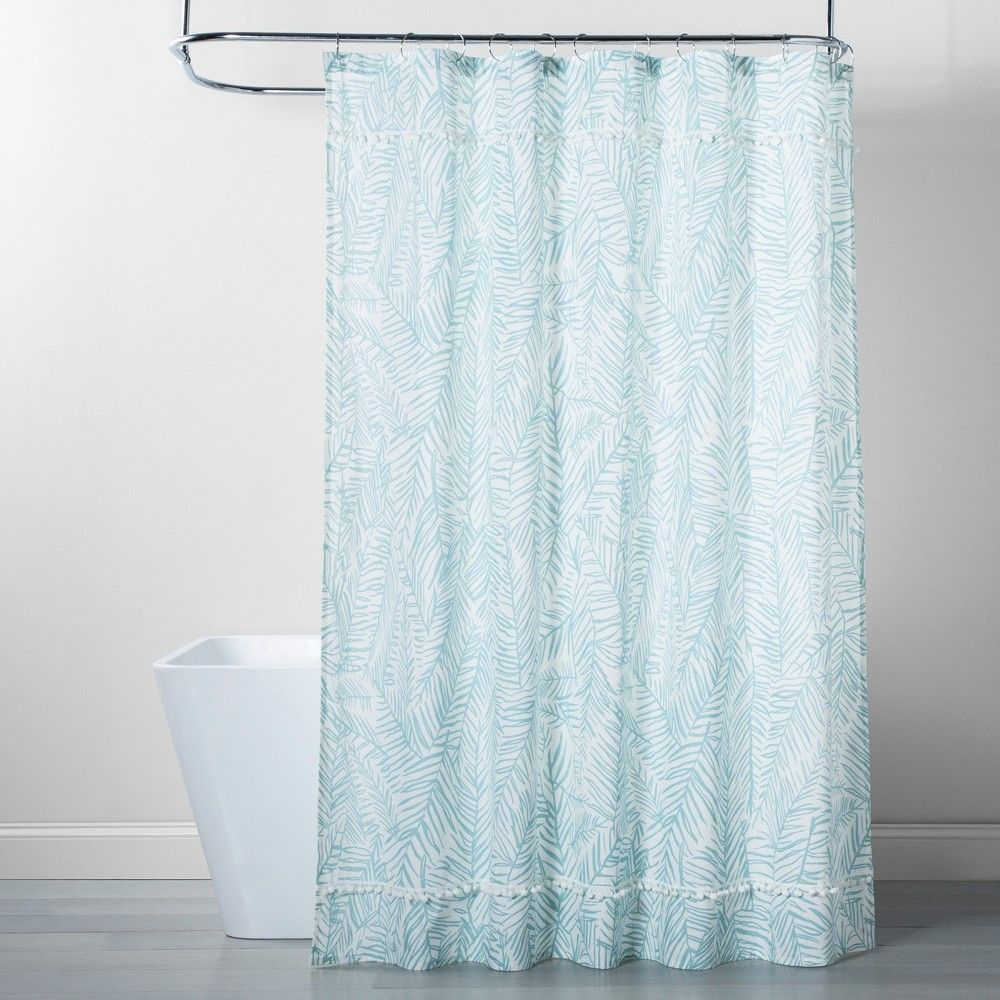 Caribbean Leaf Shower Curtain Aqua Opalhouse Blue Floral