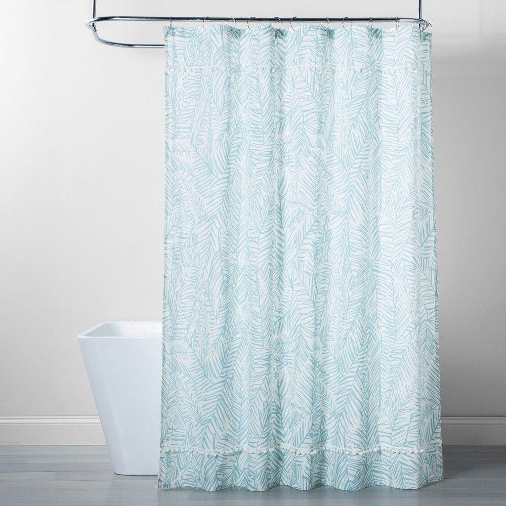 Caribbean Leaf Shower Curtain Aqua Opalhouse Floral Shower