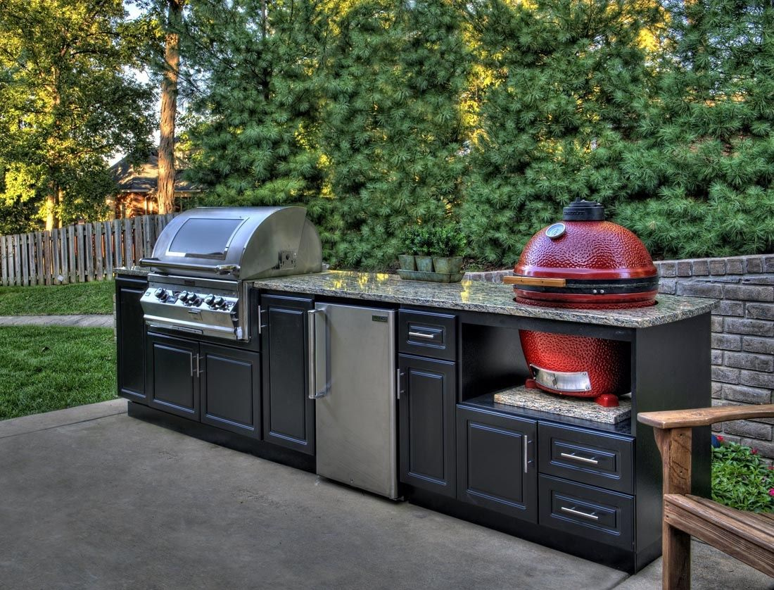 Custom Outdoor Cabinets For Big Green Egg Gas Grills And Bbq In Outdoor Kitchen Big Green Modular Outdoor Kitchens Outdoor Kitchen Kits Prefab Outdoor Kitchen