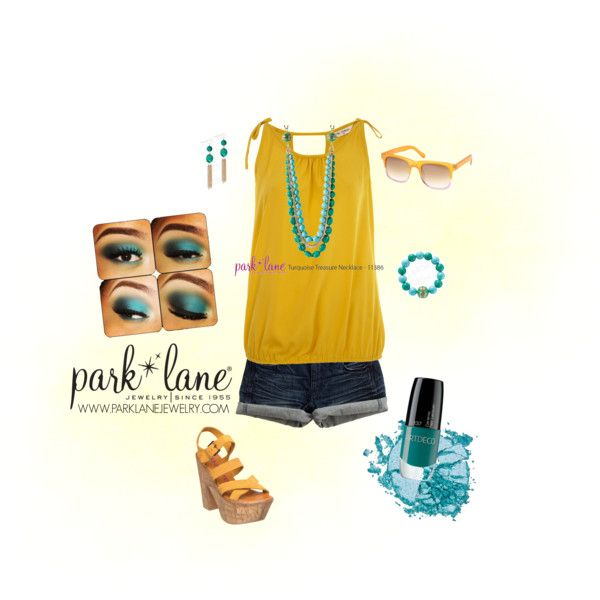 Turquoise Treasure, created by parklanejewelry  Park Lane Jewelry featured: Turquoise Treasure necklace, bracelet and earrings