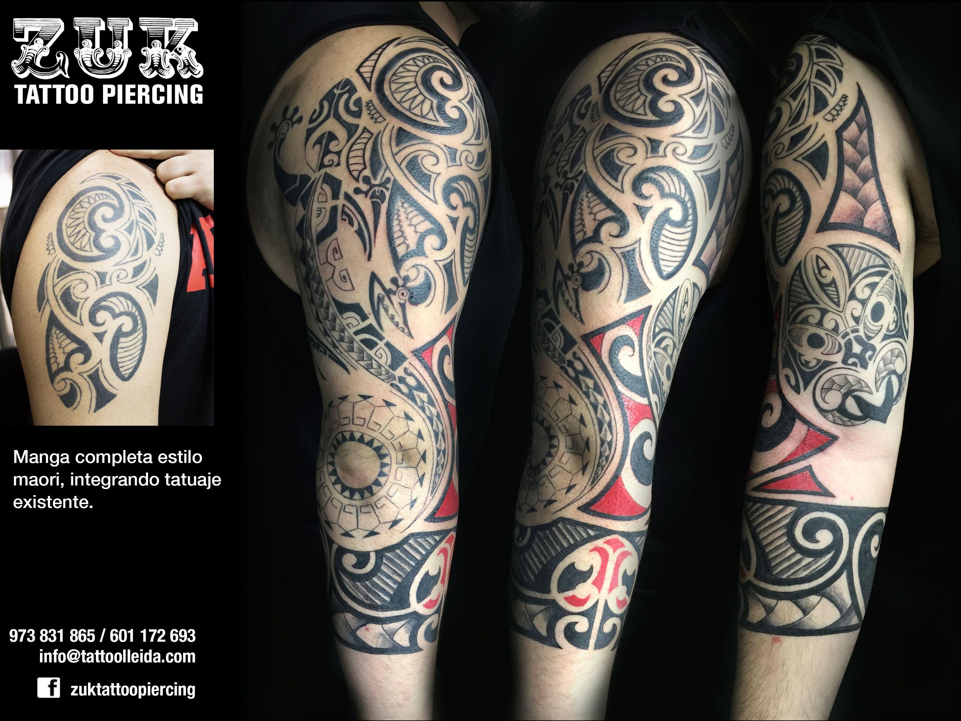 Manga completa estilo maori integrando tatuaje existente De Sihle