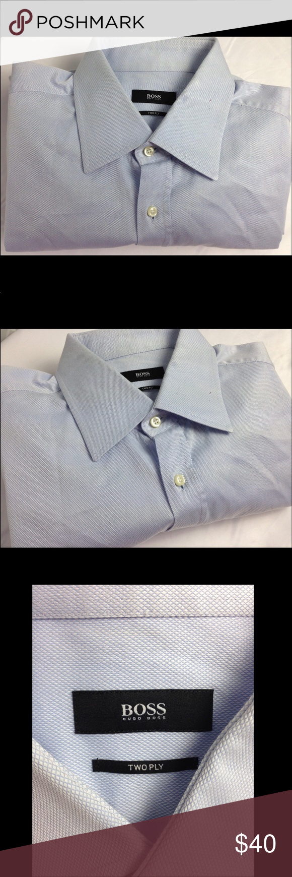 60a84bd42 BOSS Hugo Light Blue 2-ply Cotton FC Dress Shirt BOSS Hugo Boss Men's  Career Dress Shirt Size 16 1/2 - 42 solid light blue point collar French  cuffs Two Ply ...