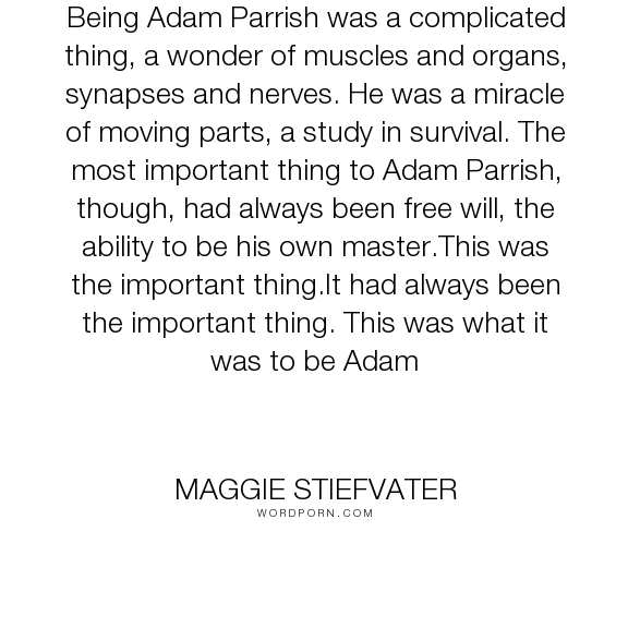 """Maggie Stiefvater - """"Being Adam Parrish was a complicated thing, a wonder of muscles and organs, synapses..."""". inspirational, sweet, poetic"""