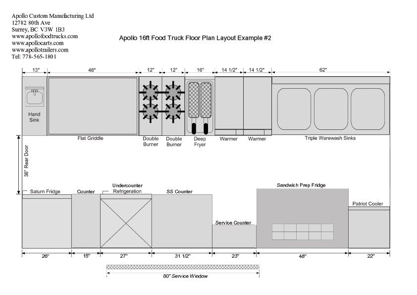 16ft Food Truck Floor Plan Example 2 Food Truck Food Truck Manufacturers Custom Food Trucks