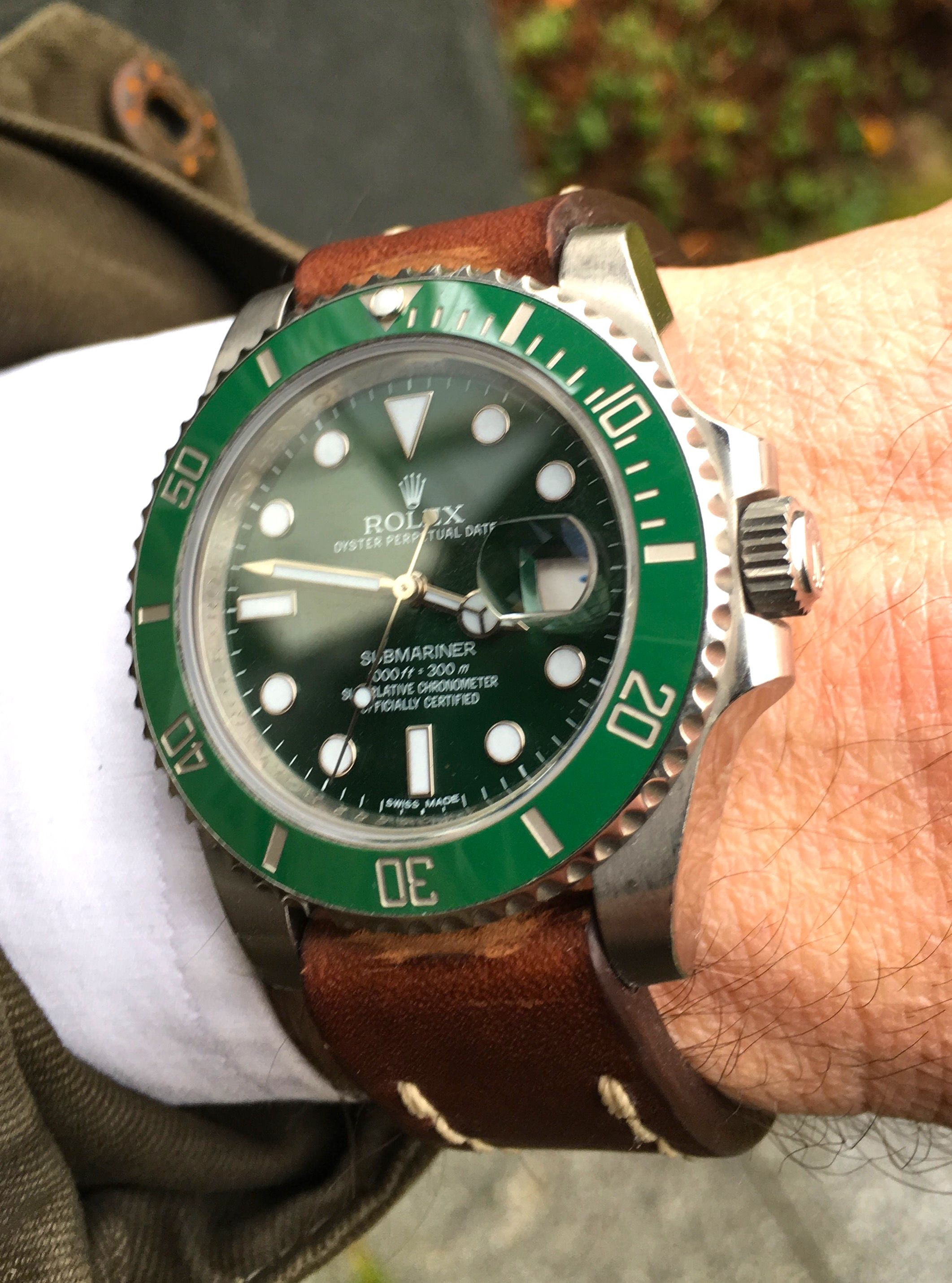 1155cc27a30 Green Rolex Submariner with Leather Strap