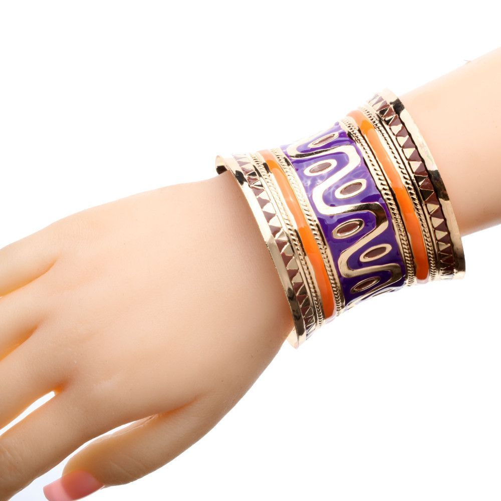 Gold plated cross lines wide cuff hand painted bangle bracelet for