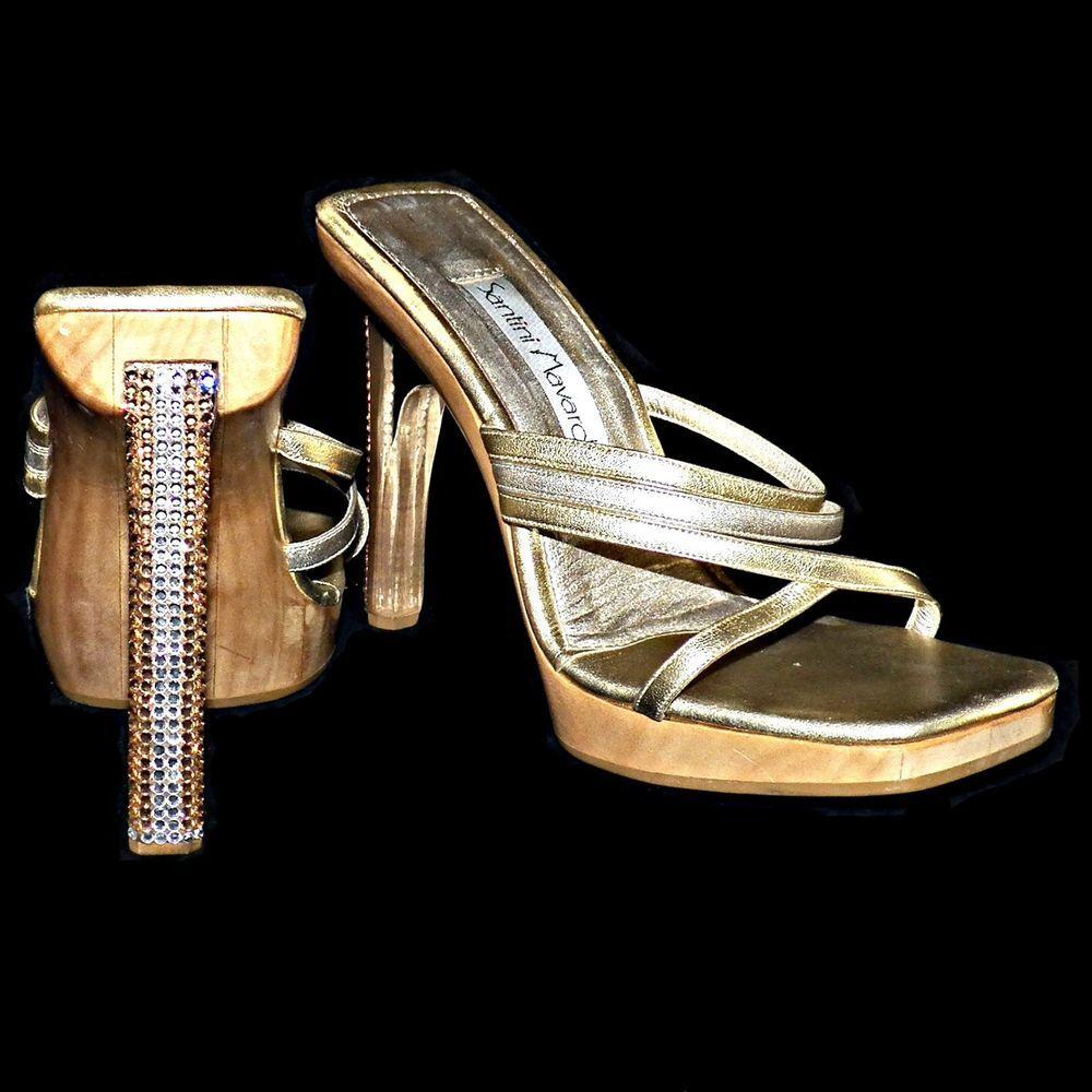c5e694312ca8 Santini Mavardi Miami Gold Metallic Swarovski Crystal Lucite Plexi Heels  Mules 8  SantiniMavardi  PlatformsWedges  Party