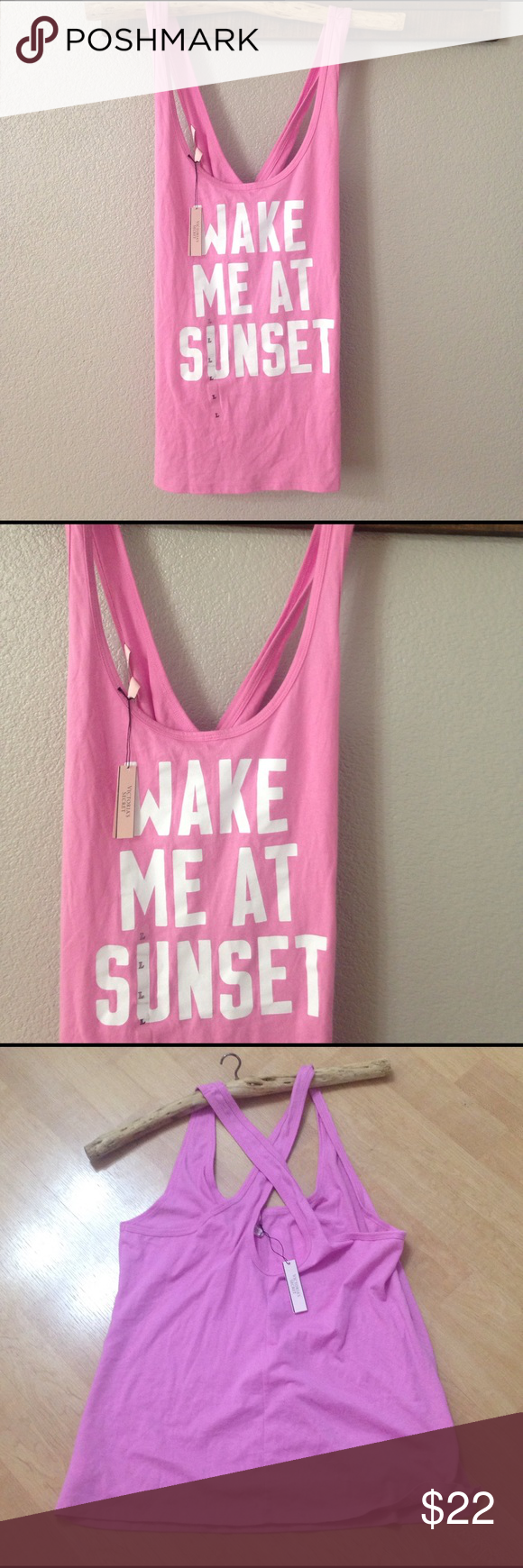 NWT PINK VICTORIA\'S SECRET criss cross tank top | Ships and Cotton