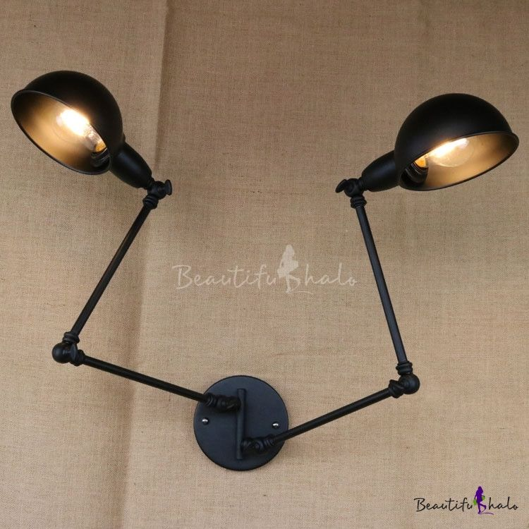Vintage 2 Head Adjustable Wall Sconce In Dome Shade For Study Room Restaurant Farmhouse Adjustable Wall Sconce Industrial Wall Lamp Wall Lamp