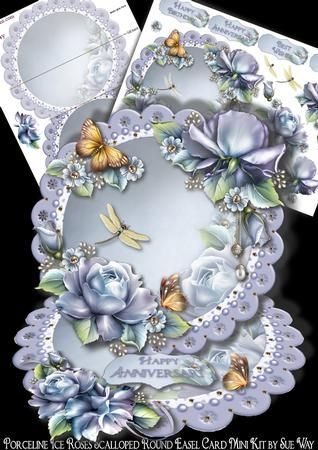 Porceline Ice Roses Scalloped Round Easel Card Mini Kit on Craftsuprint designed by Sue Way - A luxurious round easel card full of plump ice blue