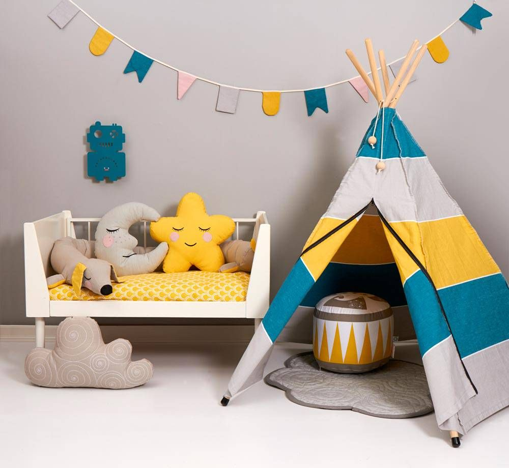 Roommate Spielzelt Hippie Tipi Petrol Grau Gelb