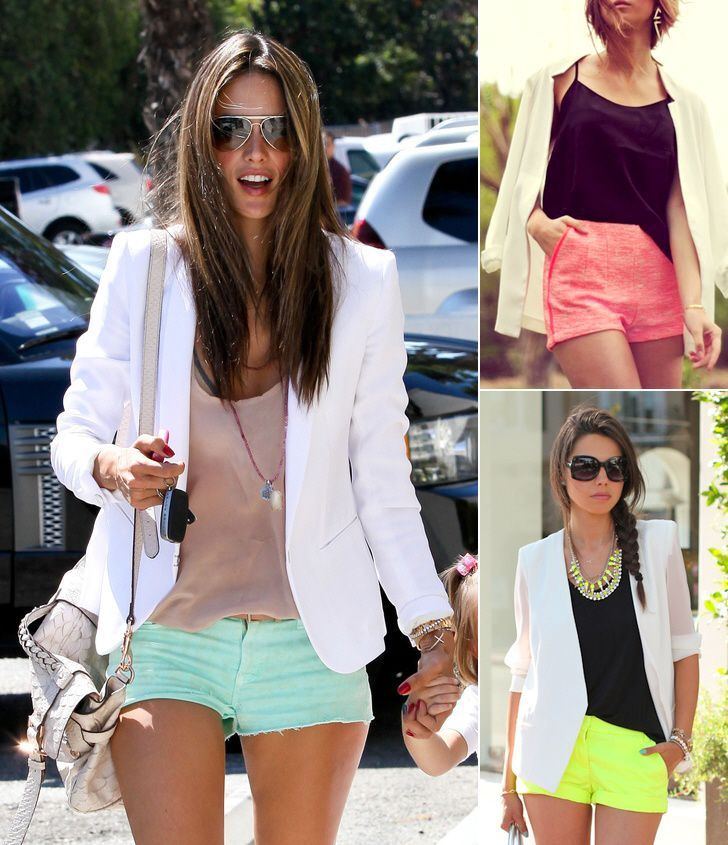 white blazer paired with bright shorts