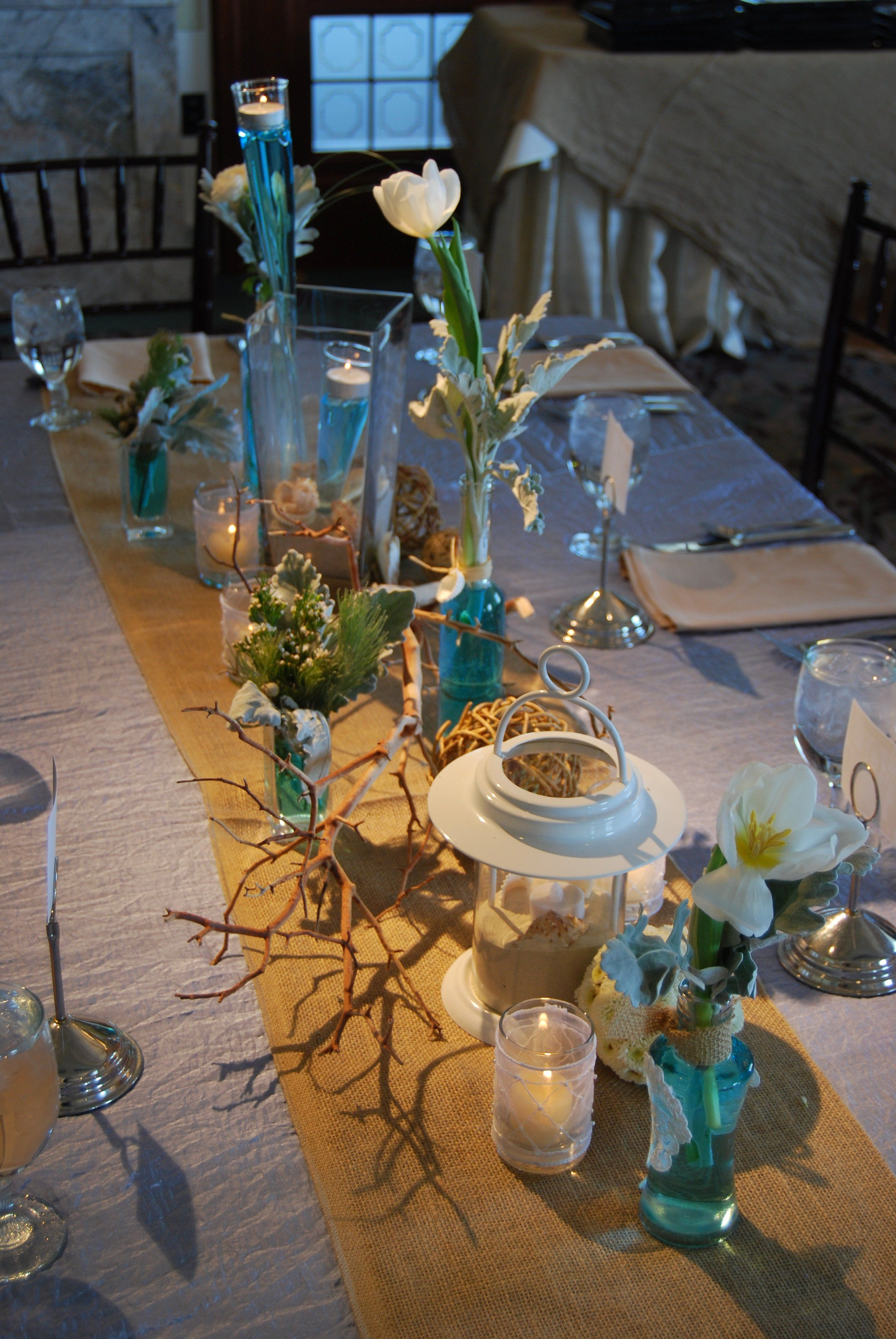Tablescapes Temple Square Beach Themed Wedding Centerpieces Wedding Reception Table Decorations Beach Wedding Tables