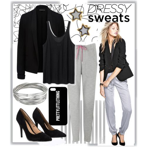 Sweatpants Look by joslynaurora on Polyvore featuring polyvore moda style Forever New T By Alexander Wang Lipsy Whistles Marc by Marc Jacobs