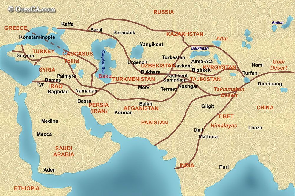 The Great Silk Road and following the footsteps of the Great Genghis - new ethiopian plateau on world map