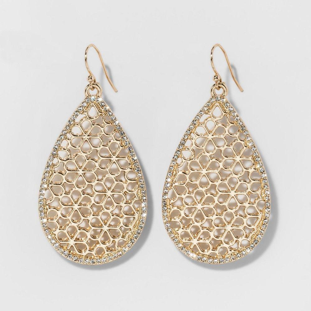 Sugarfix By Baublebar Filigree With Pavé Drop Earrings Gold Women S