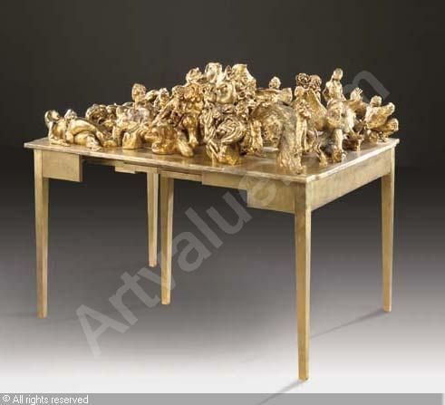 Great Gold Table Sculpture Samaras Lucas