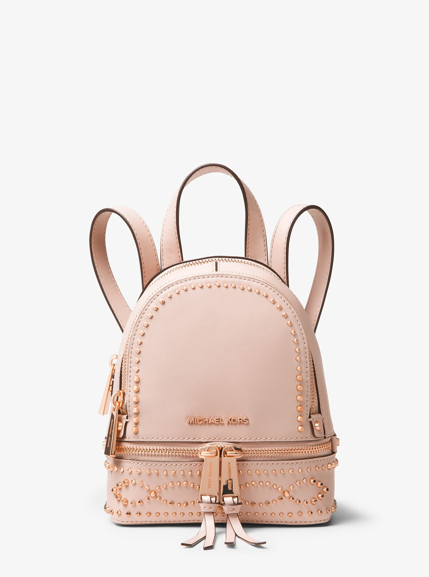 c2228dc7cf7b Michael Kors Rhea Mini Studded Leather Backpack - Soft Pink ...