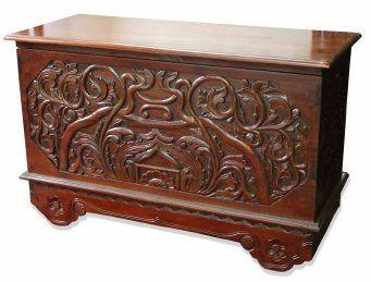 Baul de madera tallado muebles para el hogar pinterest for Muebles tallados en madera