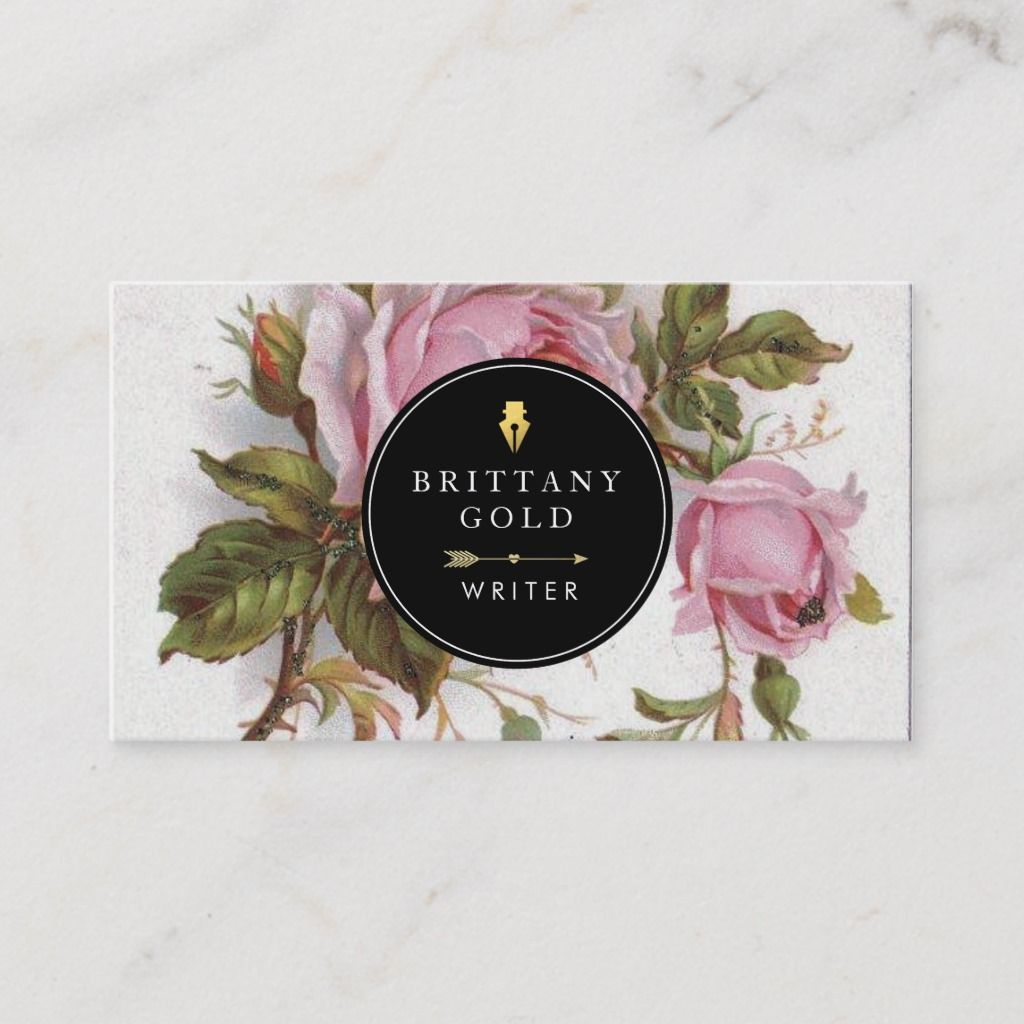 Author Writer Business Card Rose Feminine Zazzle Com In 2021 Floral Business Cards Fashion Business Cards Beauty Business Cards