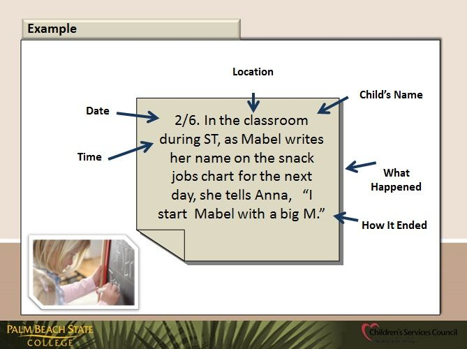 Anecdotal Note Example Anecdotal Notes Teaching Strategies Gold Classroom Assessment