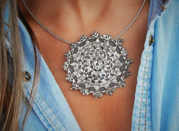 Handmade Necklace Boho Necklace Unique Necklace gift Sterling Silver Woman Macrame Silver Necklace