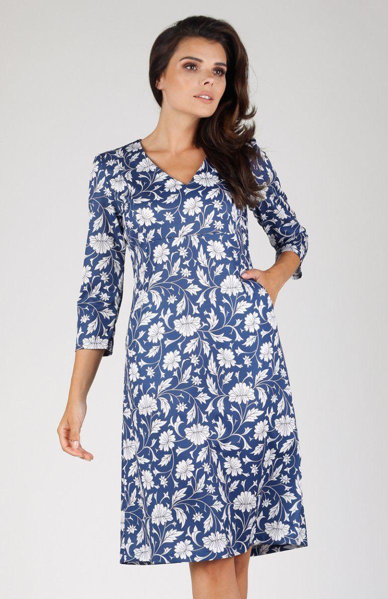 4128859387 Nommo NA329 sukienka niebieskie kwiaty Elegancka biznesowa sukienka  wykonana z jednolitego materiału