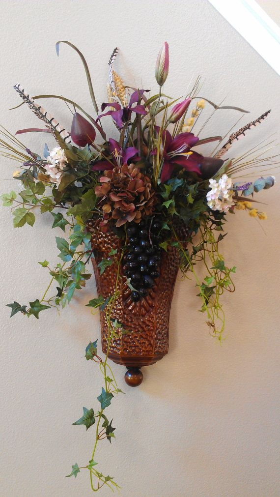 Fruit and Floral Sconce by SunsetSilks on Etsy, $78.00 ... on Silk Flower Wall Sconces Arrangements id=80406