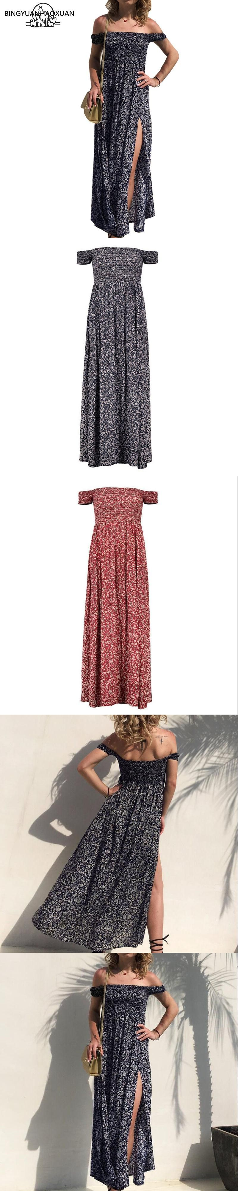 BINGYUANHAOXUAN New Arrival Summer Women Fashion Short Sleeve A collar Floral Print Maxi Dresses Sexy Beach Backless Dress #shortbacklessdress