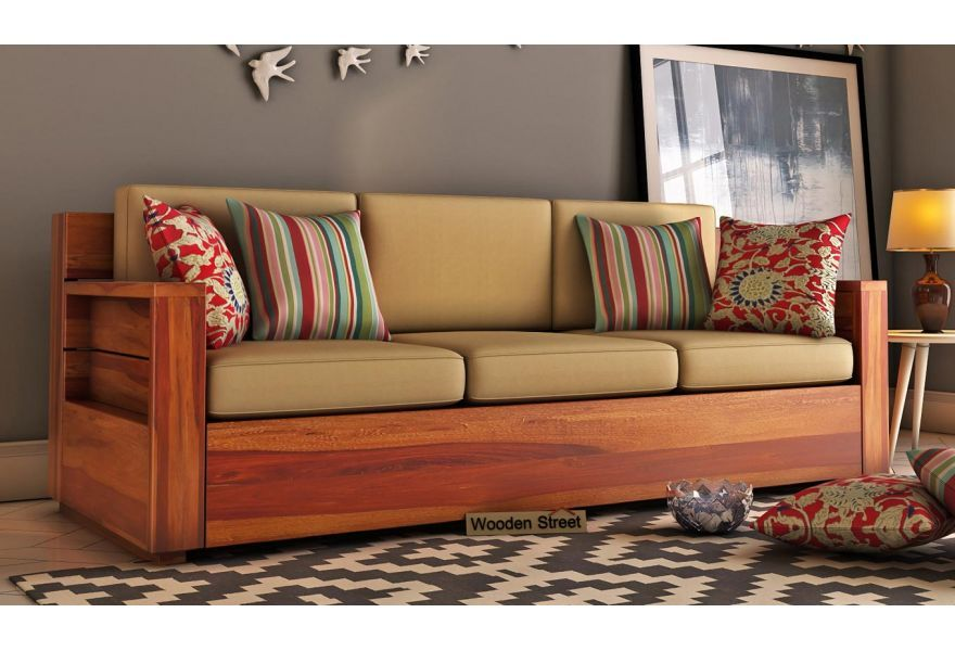 Buy Marriott Wooden Sofa 3 1 1 Set Honey Finish Online In India Wooden Sofa Designs