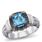 Matisse, Sterling Silver, Smokey Quartz, Blue Topaz and Diamond Accent Gemstone Ring, .02 ctw.