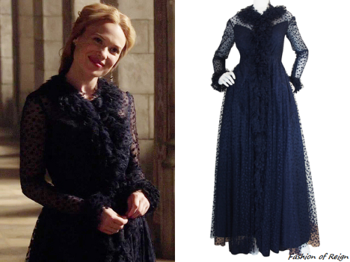 Reign 3x01, Greer wears this vintage 1960s blue silk Alfred Bosand gown from Shrimpton Couture