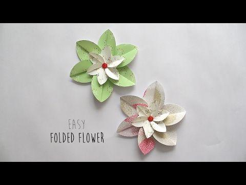 How to make: Folded Flower - YouTube | origami | Pinterest | Youtube ...