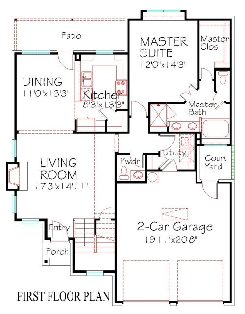 First Floor Plan House Plan 1706 200 Tradional Brick Front