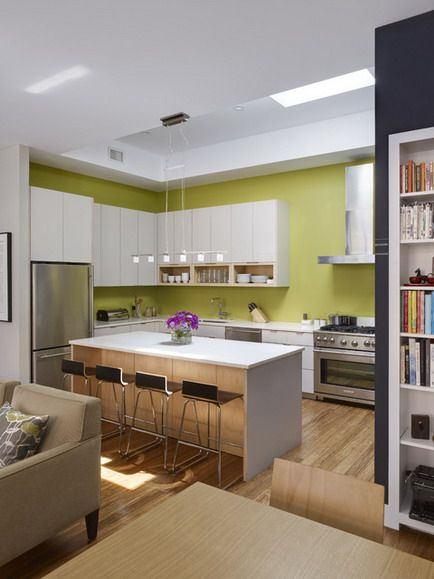 Green Wall Color Scheme And White Dining Table And Chairs In Small Modern Wood Kitchen Cabinets