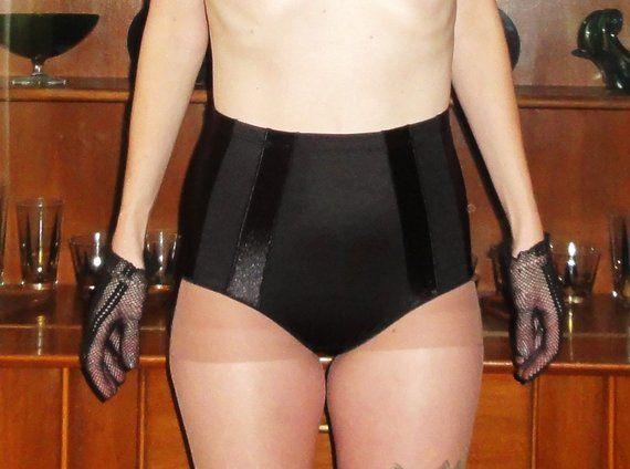 5d1aee14a9d Vintage Black Panty Girdle 1XL shapewear pantie Mad Men retro pinup boudoir  rockabilly lingerie siss